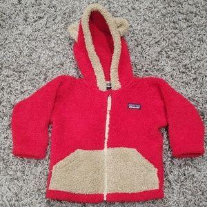Patagonia red/tan furry bear hoodie zip up jacket